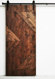 "Sliding Barn Door, Wood, Zig Zag, Walnut, 36"" x 82"", Hardware Included, Modern, Rustic, Farmhouse"