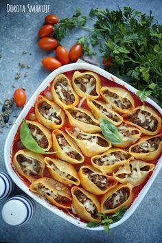 Nadziewane muszle makaronowe. Vegetable Pizza, Healthy Eating, Meat, Vegetables, Recipes, Food, Al Dente, Noodles, Bakken