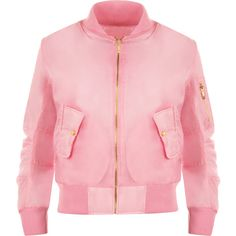 Lain Zip Bomber Jacket ($31) ❤ liked on Polyvore featuring outerwear, jackets, pink, padded jacket, red long jacket, pink bomber jacket, red bomber jacket and evening jackets
