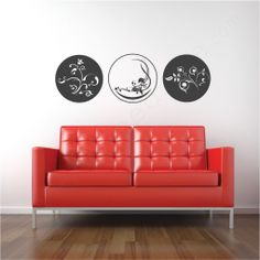 Peaceful Trio Wall Decal above the couch