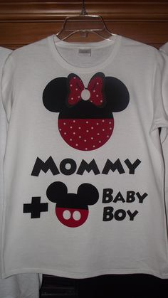 abd613ae74962 Minnie Mickey Mouse Baby Gender Announcement - Disney Birthday Family Custom  T-Shirt Personalized Applique