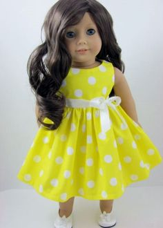 Yellow and White Polka Dot Dress and Sash for the American Girl Doll
