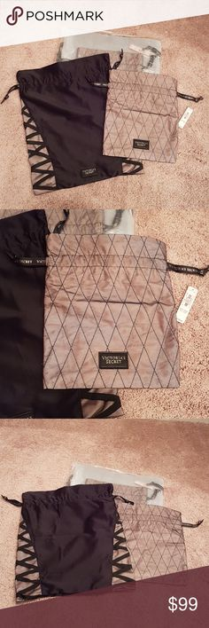 NWT VS Lingerie Bags NWT brand new Set of 2 Victoria's Secret lingerie bags Large one is 12 x 15 Smaller one is 8 x 10 Victoria's Secret Bags