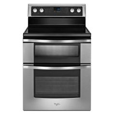 Whirlpool 6.7 cu. ft. Double Oven Electric Range with Self-Cleaning Oven in Black-WGE555S0BB at The Home Depot -- Want this for new Kitchen!