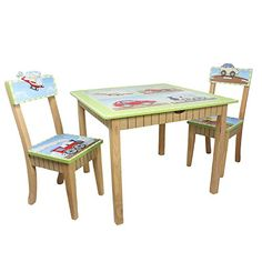 Fantasy Fields  Transportation Thematic Hand Crafted Kids Wooden Table and 2 Chairs Set Imagination Inspiring Hand Crafted  Hand Painted Details   NonToxic Lead Free Waterbased Paint -- Want additional info? Click on the image.