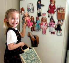 Turning an American Girl's Doll Magazine into a fun paper doll frig magnet play set.