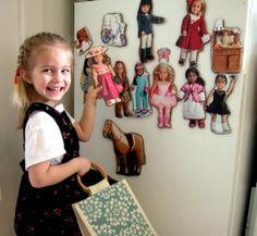 American Girl Catalog, cardboard, scissors, glue, magnet strips ... DIY cheap paper dolls