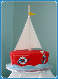 I just had to get in this summery-feeling sailboat cake before it was seasonally inappropriate. With my little G starting school today, I . Sailboat Cake, Nautical Cake, Nautical Food, Nautical Party, Torta Baby Shower, Cupcakes, Cupcake Cakes, Cake Pops, Don Fisher