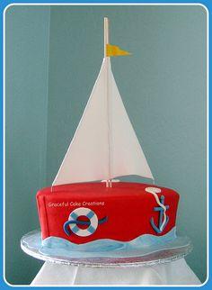 Sail Boat Baby Shower Cake