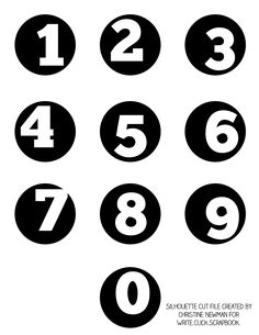 Free number circle silhouette cut file