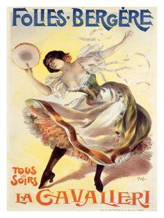 Folies-Bergere - La Cavalieri Vintage Poster (artist: Pal) France c. Vintage French Posters, Pub Vintage, Poster Vintage, Vintage Travel Posters, Retro Posters, Art Posters, Vintage Metal, Vintage Prints, Cabaret