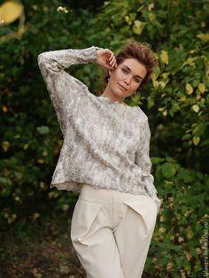 Купить Сладкий сон - белый, валяный джемпер, валяный свитер, женский свитер, женский джемпер