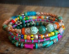 Turquoise Agate Shell and African Beaded Leather by yuccabloom