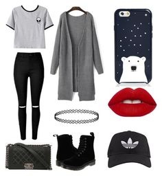 """casual day out"" by dariaaalove ❤ liked on Polyvore featuring Chicnova Fashion, Dr. Martens, Chanel, adidas, Lime Crime and Kate Spade"