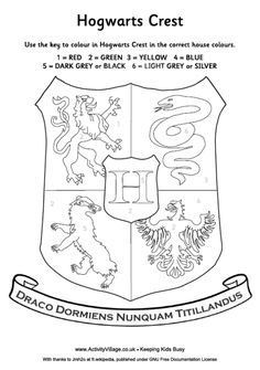 Harry Potter House Crest Coloring page...I'm thinking we need this for the road trip @Kelly Teske Goldsworthy Teske Goldsworthy Lutz