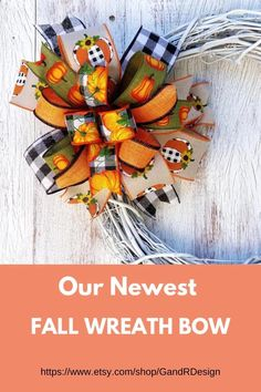Black and white buffalo plaid for fall?  Why not?  This new look is trending now and you can be right in style with this multi ribbon bow added to your fall decor.  Find it in my Etsy shop today. #buffaloplaidforfall  #falldecor  #pumpkinseason  #pumpkinspice  #fallfarmhouse Wreath Bows, Diy Wreath, Autumn Decorating, Fall Decor, Fall Lanterns, Plaid Decor, Harvest Decorations, Christmas Ribbon, White Pumpkins