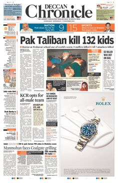 Today's Front Pages | Newseum - Deccan Chronicle (India) on Peshawar attack