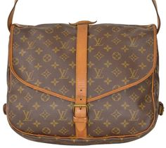 b60fdcb74c2 Louis Vuitton Saumur Monogram 35 Messenger Style M42254 Brown Leather    Coated Canvas Cross Body Bag 77% off retail