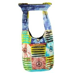 Hobo Bohemian Hippie Ripped Razor Cut Gypsy Embroidery Flower Print Peace Sign Shoulder Sling Crossbody Cotton Handmade Purse Monk Bag Nepal,$24.99