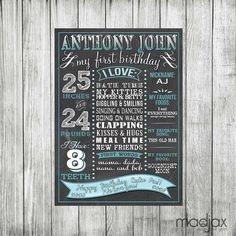 Blue Ombre Chalkboard Style Birthday Board by MadJaxDesignandPrint