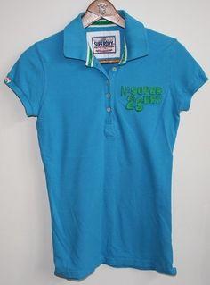 Genuine Super Dry Polo Shirt Size S Sea Blue Tennis Fashion Designer Top T-shirt