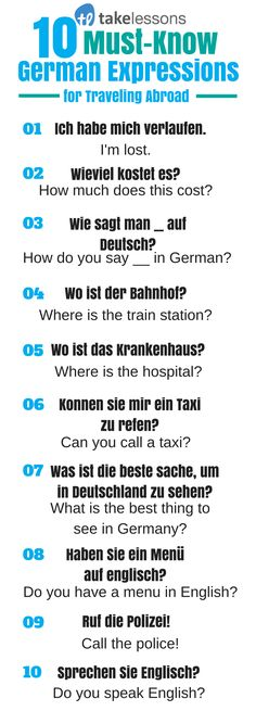 10 Must-Know German Expressions for Traveling Abroad: http://takelessons.com/blog/german-expressions-abroad-z12?utm_source=social&utm_medium=blog&utm_campaign=pinterest