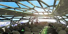 Window on the world: Gone are the small aircraft windows in the 'vitalising zone' which provides a panoramic view for passengers