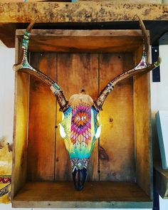 Hand-painted Deer Skull with LED lights by SheltonValleyFarm