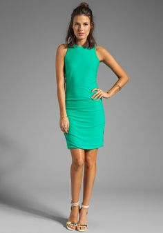 HALSTON HERITAGE Gathered Hip Crewneck Dress in Spearmint - Dresses