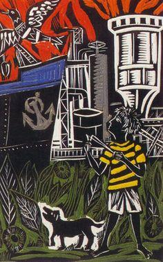 Obra de Berni - Juanito con la honda, década del '60.