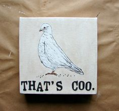 Original Bird Art with Word Play-Pigeon Bird Wall Art, Mixed Media Painting, Gift for Bird Lover, Wife Gift, Geek Art by BendixenArt on Etsy https://www.etsy.com/listing/212582127/original-bird-art-with-word-play-pigeon