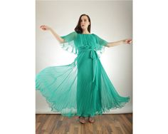 1970s Teal Ruffled and Pleated Maxi Dress XS Extra by BGSvintage