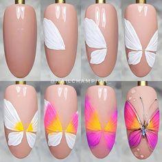 Gel Designs, Pretty Nail Designs, Nail Art Designs, Butterfly Nail Art, Abstract Nail Art, Nail Art Hacks, Stylish Nails, Beautiful Nail Art, Press On Nails