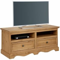 Elegant Meuble bas TV partiments tiroirs en pin massif