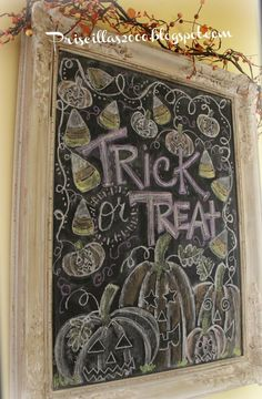 """Trick or treat! What do you do when you still L-O-V-E your pumpkin picking day chalkboard? well of course you """"carve"""" those pum. Halloween Chalkboard Art, Fall Chalkboard, Chalkboard Sayings, Chalkboard Designs, Chalkboard Ideas, Chalkboard Paint, Chalk Talk, Chalk It Up, Chalk Board"""