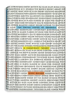 """Cool book cover design that sets up the story upfront with the usage of simple hues that resembles a highlighted word amongst the vast see of """"conspiracies"""" Great hierarchy."""