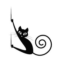 Gato negro colgado