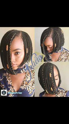 19 Hottest Asymmetrical Bob Haircuts for 2019 For Women - Style My Hairs Bob Box Braids Styles, Short Box Braids, Bob Braids, Box Braids Styling, Braid Styles, Short Hair Styles, Braided Hairstyles For Black Women, African Braids Hairstyles, Trendy Hairstyles