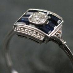 Art Deco White Gold Sapphire Diamond Engagement Ring by Vintage Ruby Grays Antique Vintage Rings by kmmerrill Bijoux Art Deco, Art Deco Jewelry, Jewelry Design, Jewelry Crafts, Antique Jewelry, Vintage Jewelry, Sapphire Diamond Engagement, Sapphire Wedding, Art Deco Ring
