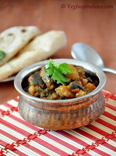 How to make Aloo baingan sabzi  ~ Urilakizhangu katrikai curry ~ Potato and eggplant curry with stepwise pictures. Aubergine curry. Vegan and gluten free recipes.