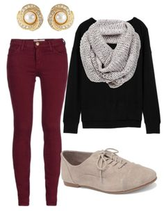 Polyvore colored pants fall style