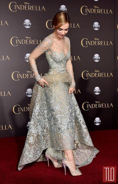 """Lily James in Elie Saab Haute Couture and Louboutin """"glass slippers"""" at…"""