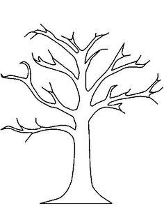 Раскраски дерево дерево с толстым стволом без листьев для поделок