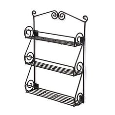 New Kitchen Wall Mountable Black Scroll Spice Container Metal Rack Display on eBay!