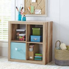 Better Homes & Gardens Square 4 Cube Storage Organizer, Multiple Colors, Brown