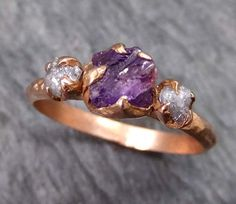 Raw Sapphire Diamond Gold Engagement Ring Wedding Ring Custom One Of a Kind Purple Gemstone Ring Three stone Ring