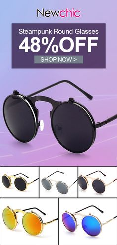224c267bea8ca Men Women Vintage Vogue Sunglasses Retro Steampunk Round Mirror Flip Cover  Lens Glasses is high quality and cheap on Newchic.