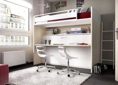 Contemporary High Bed with Pull Out Bed and Desk by Rimobel Childrens Bunk Beds, Kids Bunk Beds, High Beds, Pull Out Bed, Bunk Bed Designs, Bed Springs, Loft Spaces, Bed Mattress, Murphy Bed