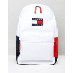 Tommy Jeans Backpack (£85) ❤ liked on Polyvore featuring bags, backpacks, white, logo bags, white jersey, top handle bags, tommy hilfiger bags and preppy backpacks