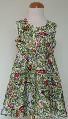 SHOP: Girls Designer Dresses: SerendipityGDDs KARLEEN dress for girls aged Aussie bird fabric dress for sale: Little Girl Dresses, Girls Dresses, Girls Designer Dresses, Price Reduction, Fabric Birds, Serendipity, I Dress, Dresses For Sale, Dresser